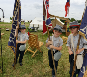 Our unit's latest colorbearers drilling in camp at Gettysburg 2016